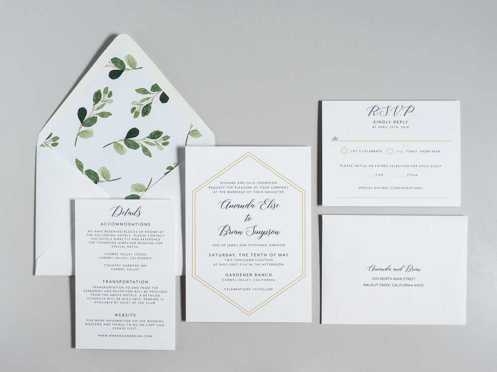 Navy, Gold, and Greenery Wedding Invitations by Just Jurf-1.jpg
