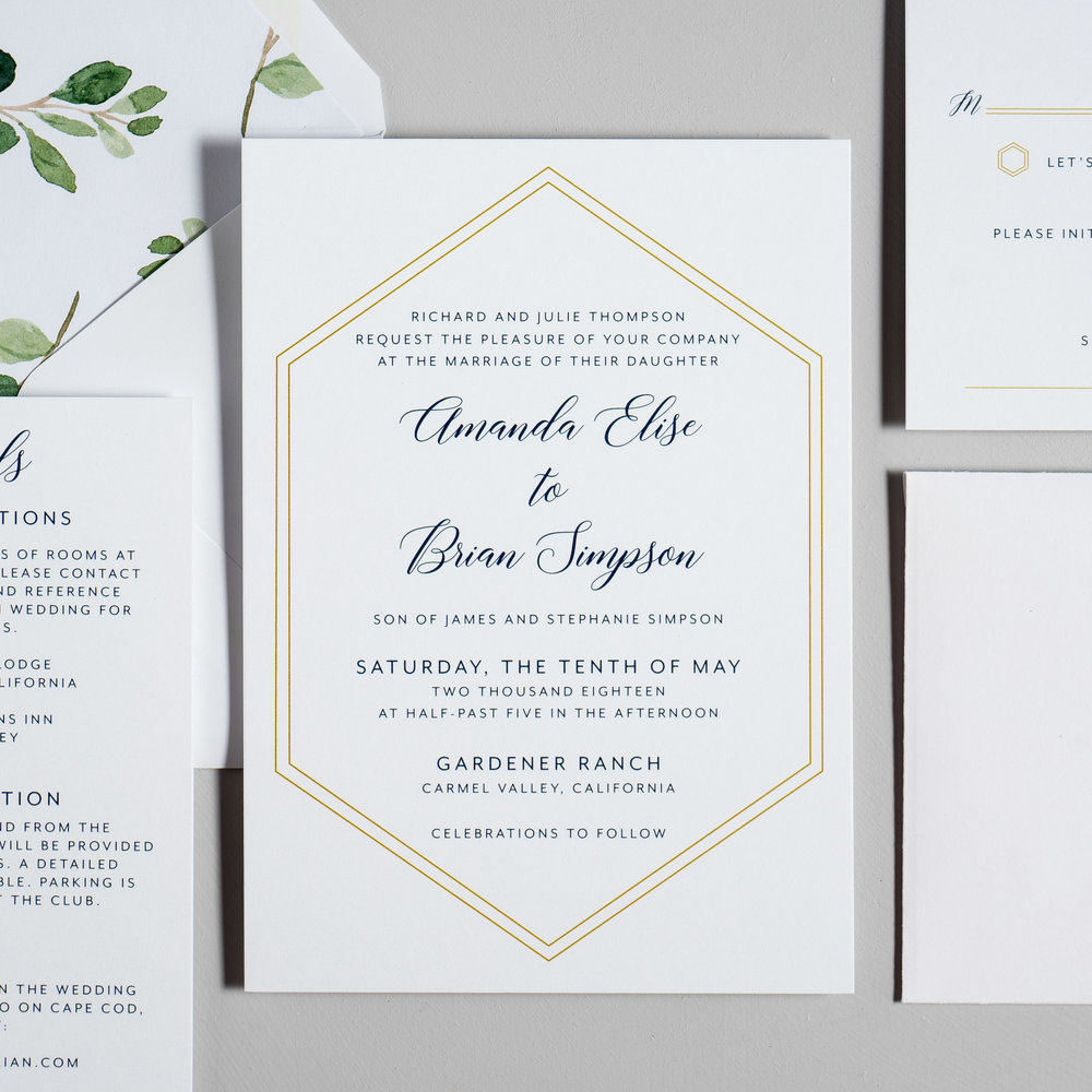 Navy, Gold, and Greenery Wedding Invitations by Just Jurf-2.jpg