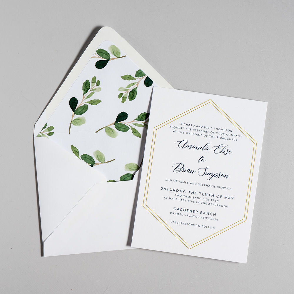 Navy, Gold, and Greenery Wedding Invitations by Just Jurf-5.jpg