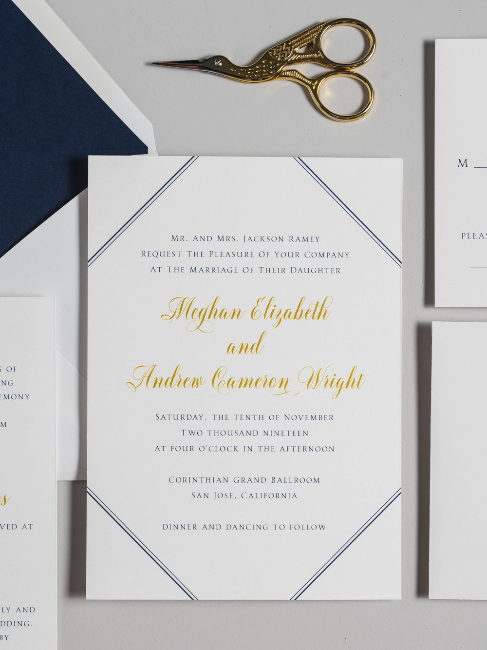 *Classic Navy & Gold Wedding Invitations by Just Jurf-3.jpg