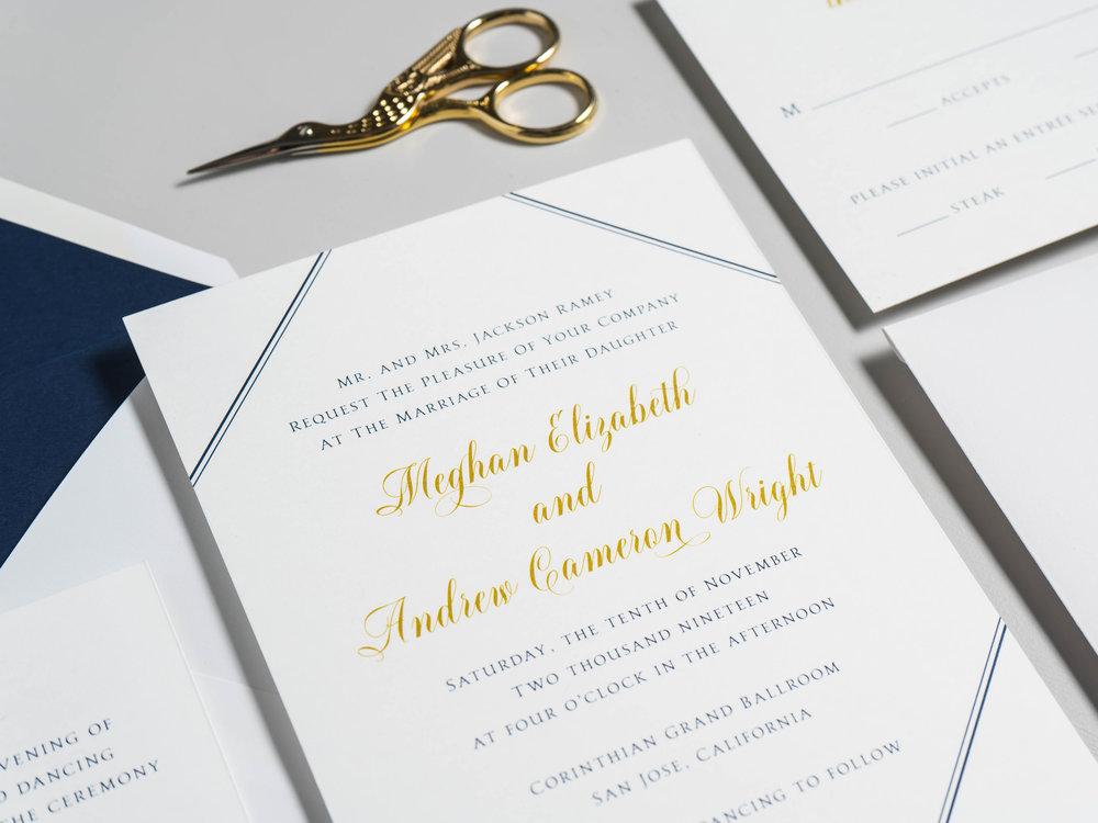 *Classic Navy & Gold Wedding Invitations by Just Jurf-5.jpg