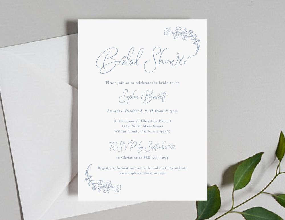 c0e97f8da94e Dusty Blue Floral Wedding Invitation Sample Kit — Just Jurf Designs