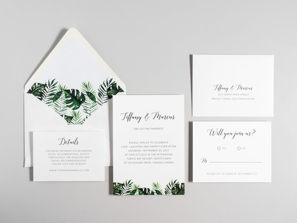 Tropical Greenery Palm Leaf Wedding Invitations by Just Jurf-1b.jpg