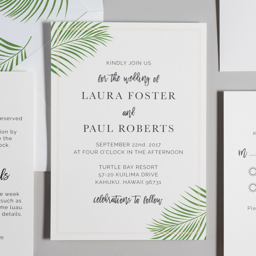 Soft Tropical Palm Leaf Wedding Invitations by Just Jurf-2.jpg