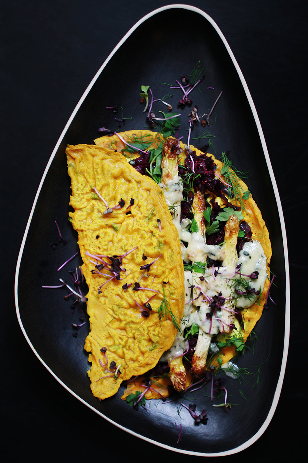RICE FLOUR PANCAKEs WITH RED CABBAGE AND BLUE CHEESE ASPARAGUS - GF