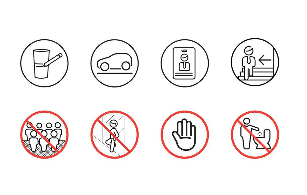 Pictogramas informativos y prohibitivos.