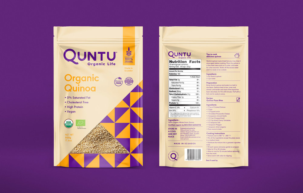 Organic grain quinoa packaging