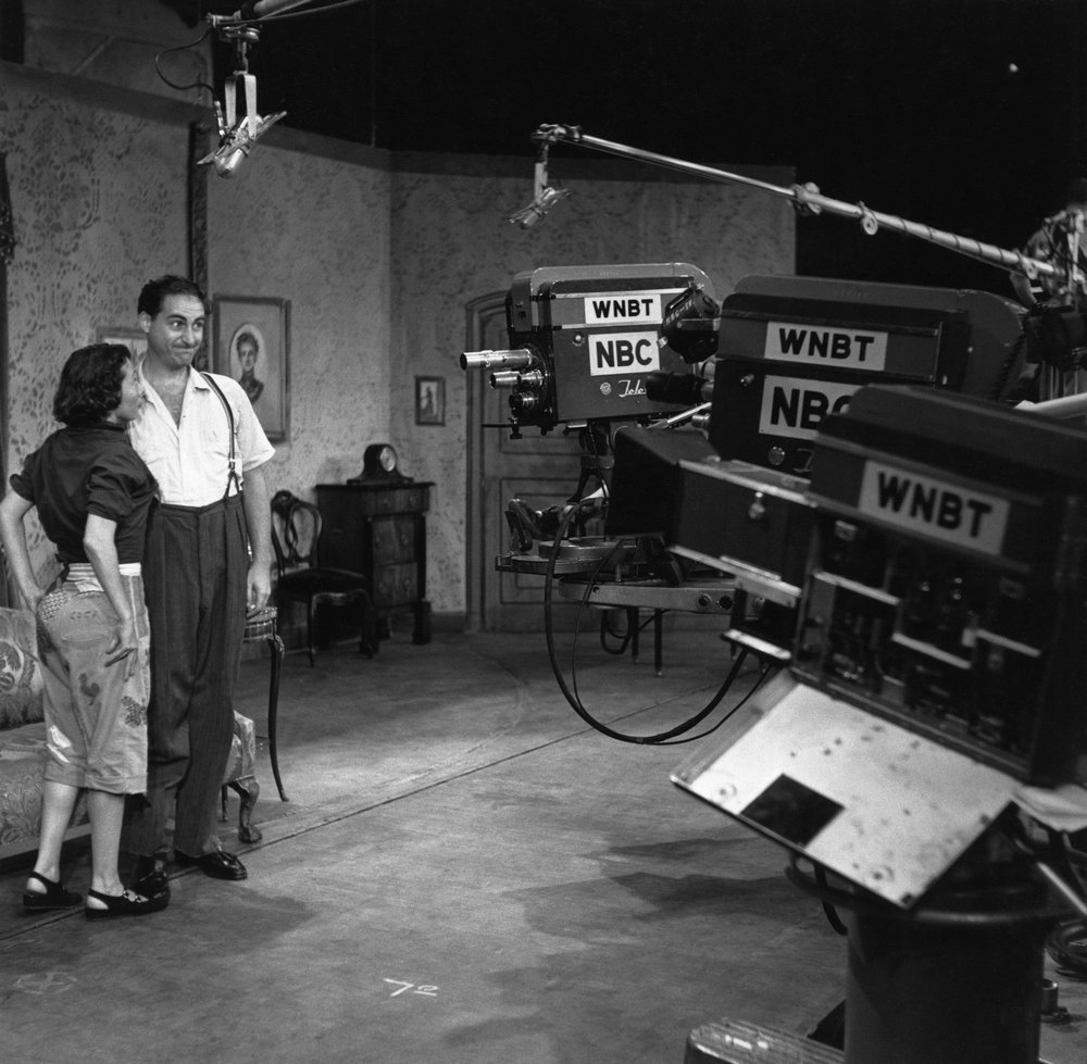 Imogene Coca and Sid Caesar during rehearsal for Your Show of Shows which was performed live every week at the NBC studios in New York city.