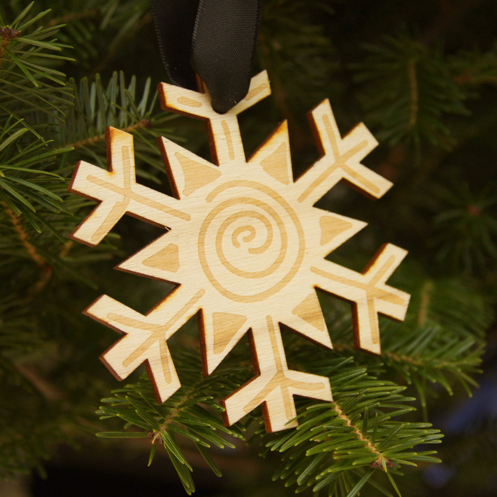 Laser Engraved Wood Holiday Ornament