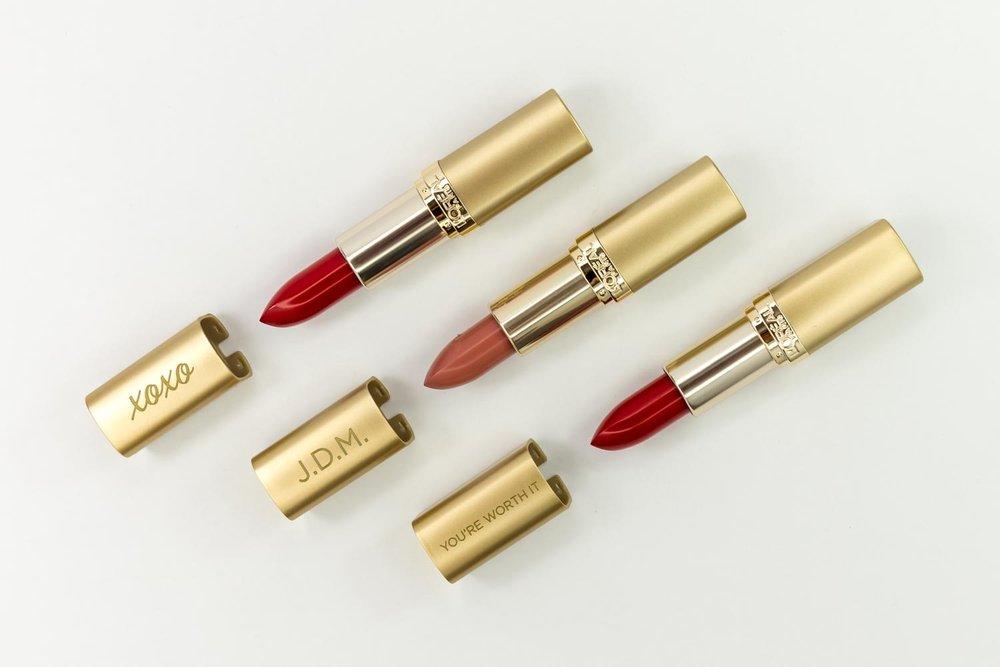 Custom laser engraved lipsticks