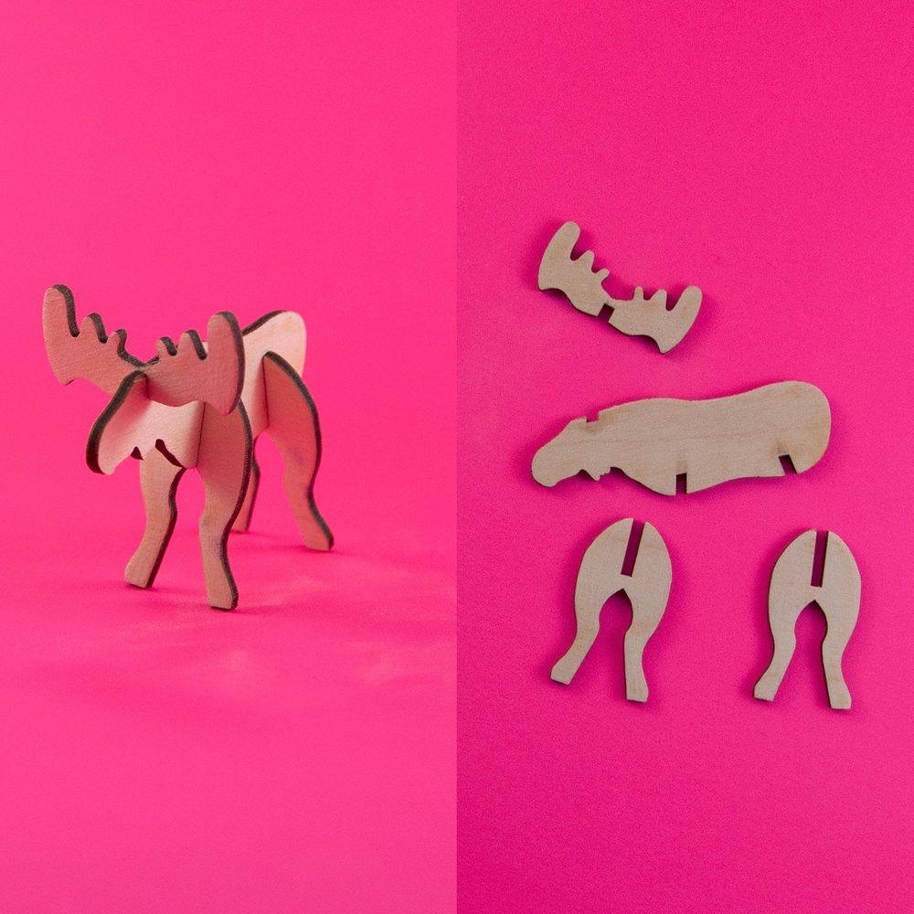 Laser cut buildable moose