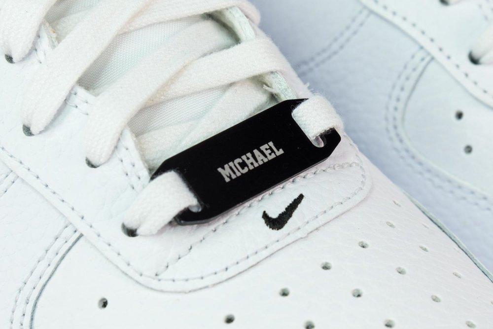 Laser engraved shoe tag
