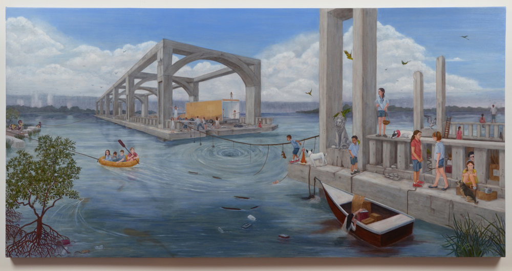 """Storm Brewing, 36"""" x 72"""", oil on panel, 2014"""