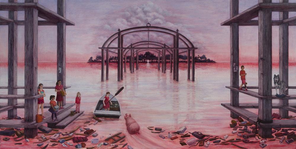 "Exodus, 36"" x 72"", oil canvas/panel, 2017"