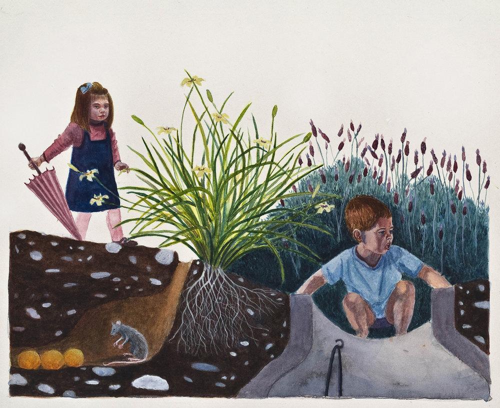 """Secrets, 10"""" x 12"""", watercolor & gouache, 2010"""