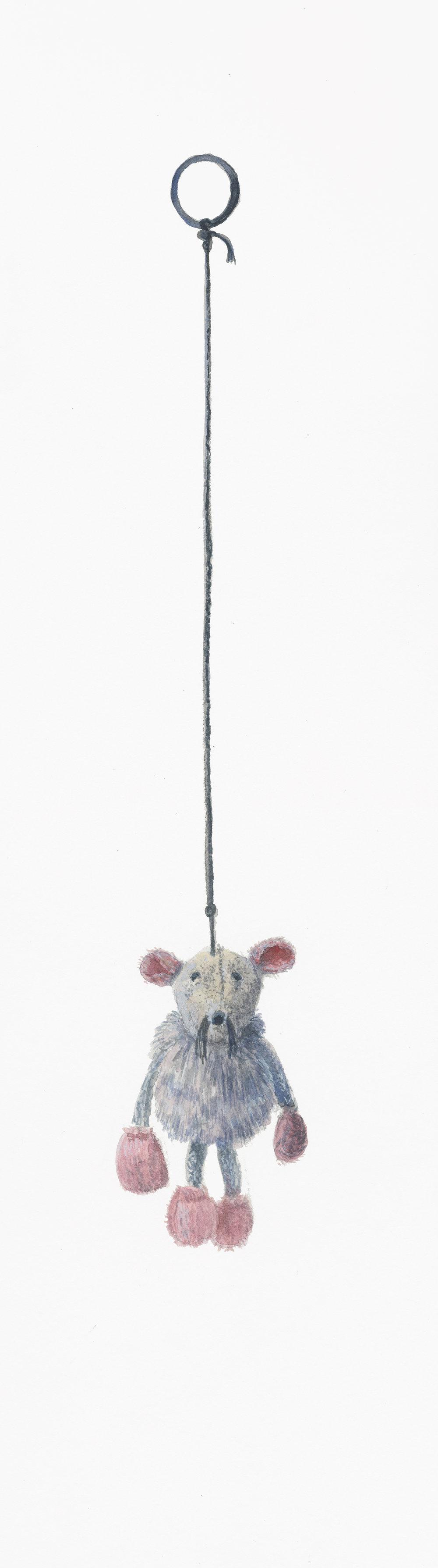 """Rat Boy, 19.25"""" x 5.5"""", watercolor & gouache on paper, 2014"""