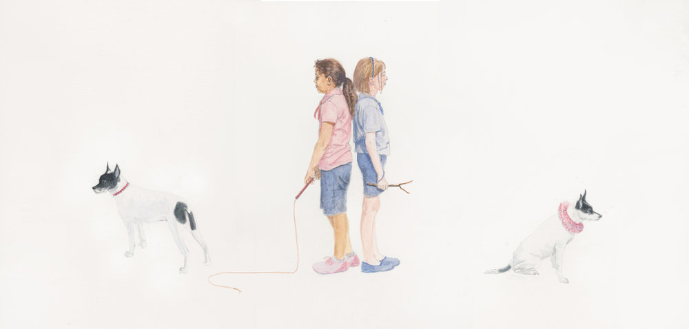 """Girls, Armed & Ready, 9.75"""" x 20"""", watercolor on paper, 2014"""