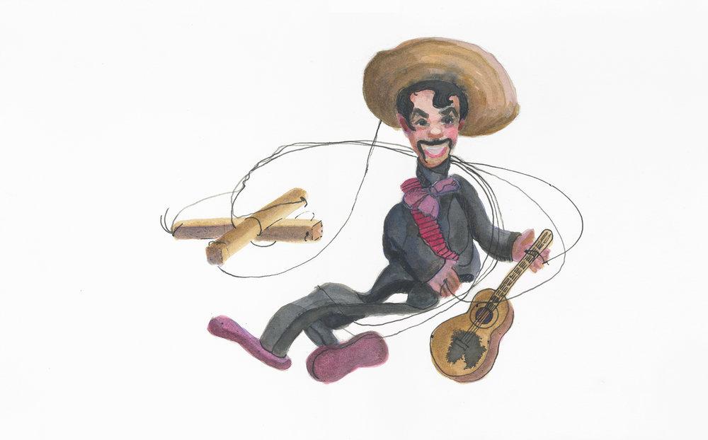 "Mr. Strings, 10"" x 16"", watercolor & gouache on paper, 2014"