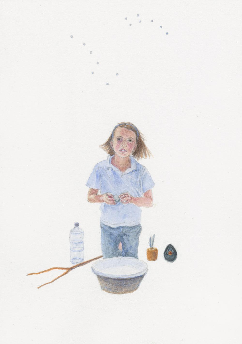 """Gazer, 11"""" x 8"""", watercolor & gouache on paper, 2014"""