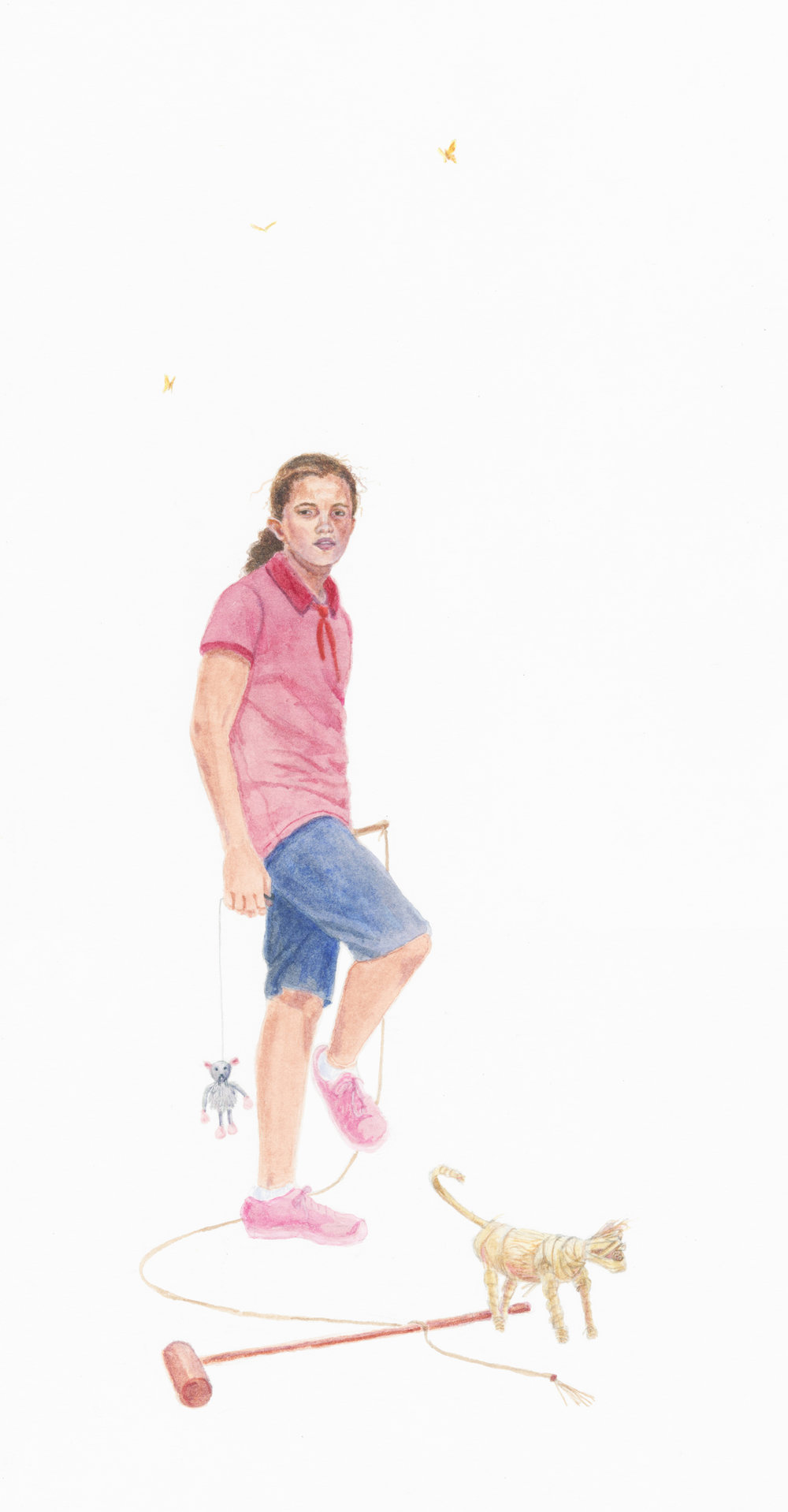 "Stalker, 15"" x 8"", watercolor & gouache on paper, 2014"