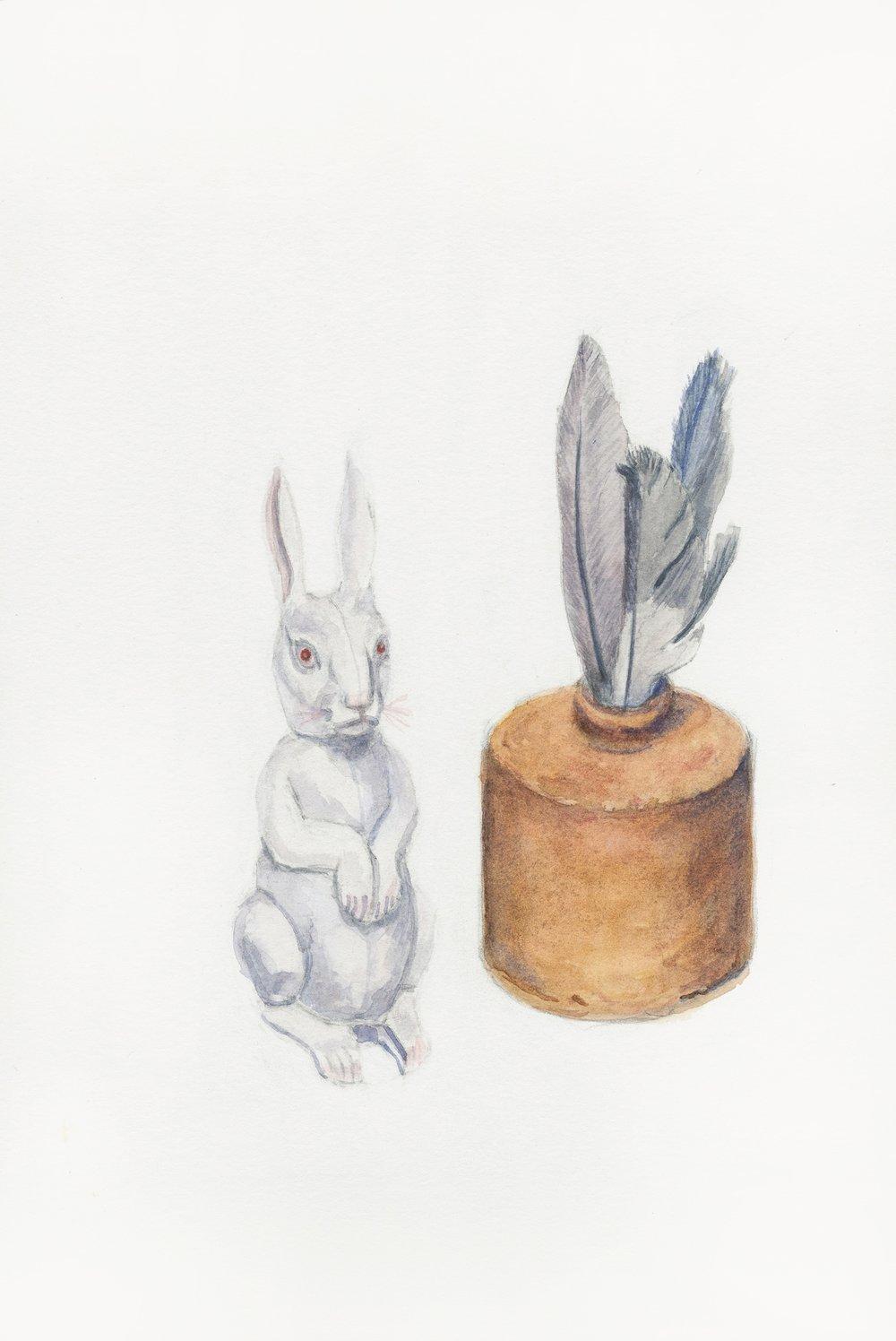 """Messages, 13"""" x 8"""", watercolor & gouache on paper, 2014"""