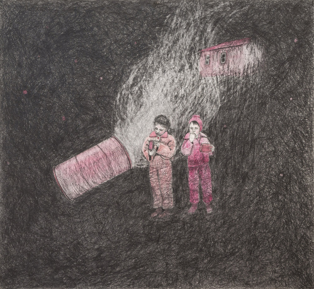 "Pig Roast, 16"" x 17.5"", graphite & watercolor, 2015"