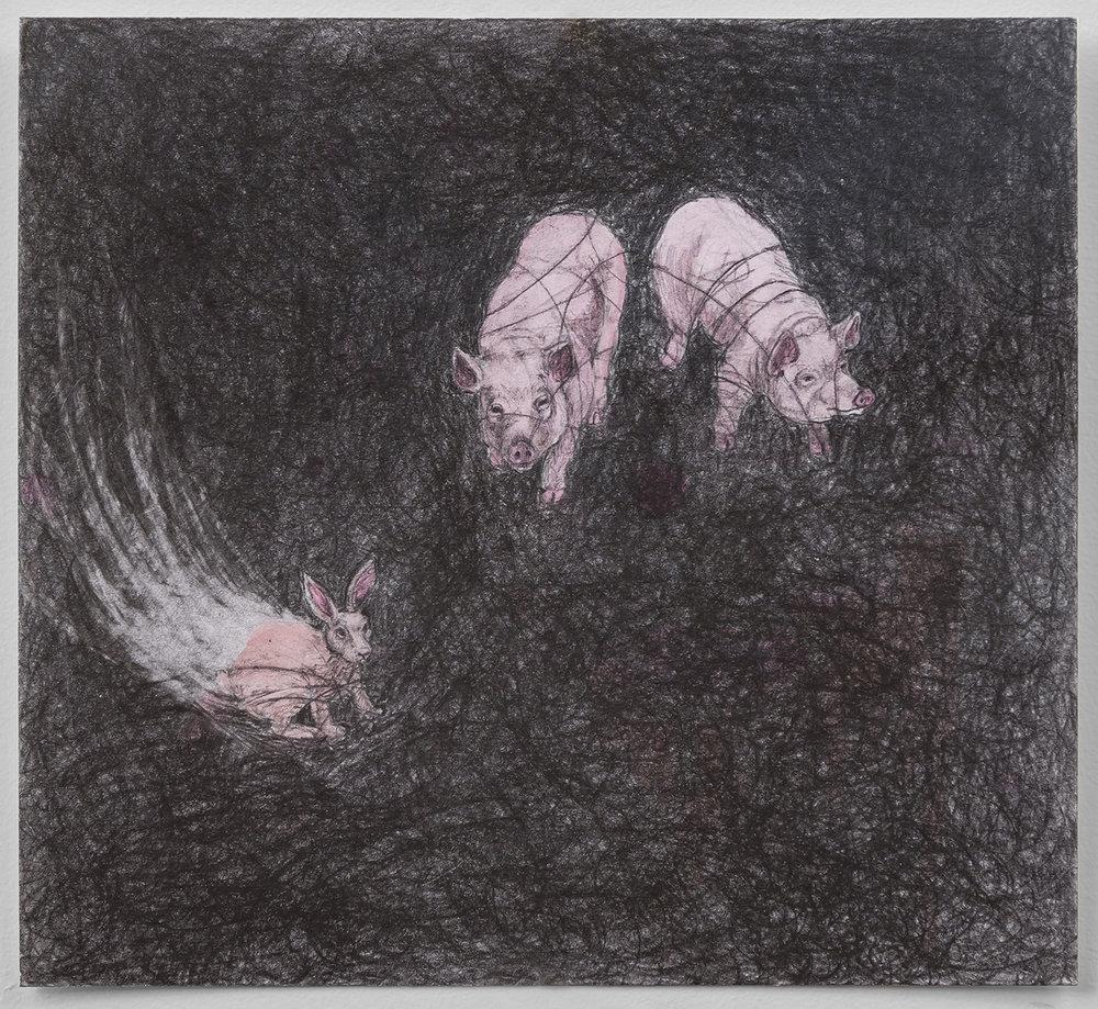 """Run, Run, Run, 10"""" x 11"""", graphite & watercolor on paper, 2015"""