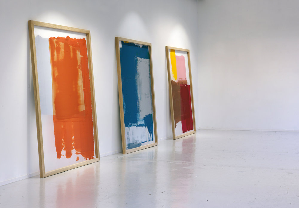 "After the Masters  (2014) Reconstructions of used, unwashed silkscreen frames Wood, silkscreen, leftover paint Triptych, 200 x 150 cm each  ""In  After The Masters , Vilde Salhus Røed has reconstructed silkscreen frames in a way that mimics what they might have looked like after being used by other artists. She has coated several layers of ink in the frames and let to dry, as well as printed without motifs from the screens, and without washing away previous layers of ink between each printing. The large frames contain traces of the silkscreen process, but without references to the artist or the art work it´s attempting to look like.  After The Masters  is a reconstruction of silkscreen frames in the way Salhus Røed thinks it must have looked like.  Even though the silkscreen frames look abstract, they make up the concrete expression of the process involved in the production. The focus on process and materiality has been the starting point for several of Salhus Røed´s photographic projects, and in  After The Masters  she has transferred this way of working to screenprinting; a technique in which she has little experience to begin with. Salhus Røeds´ works are often based in photographic challenges, where archive and recycling of material make up key elements in several of her projects. In  After The Masters  she is going a step further; the works make up the reconstructions of frames and prints as if she had found them."" - From the press release for the exhibition  After the Masters  at Trykkeriet, October 2014  Photo documentation: Daniel Persson/Trykkeriet Installation view at  After the Masters,  Trykkeriet - Center for Contemporary Printmaking, Bergen 2014"