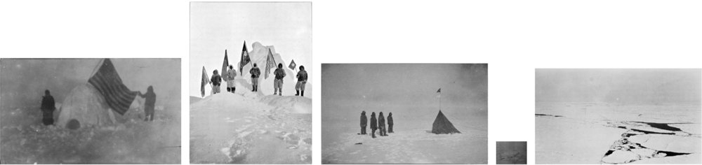 The very first image of the true pole. After Cook 1908, Peary 1909, Amundsen 1911, Byrd 1926 and Amundsen 1926  (2010) Five photo reproductions from photographical images traced back as far as possible to their originals, printed in their original negatives' size Archival prints, b&w inkjet on baryta