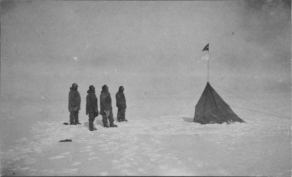 After   Amundsen 1911   The successful explorers at the South Pole, 14th December 1911, by Olav Bjaaland (1911)   After a digital image by National Library of Australia,  after a silver gelatine fibre based original print in the portfolio  Tasmanian Views  by the photo assistant Edward William Searle (Tasmania 1912) in the collection of National Library of Australia.