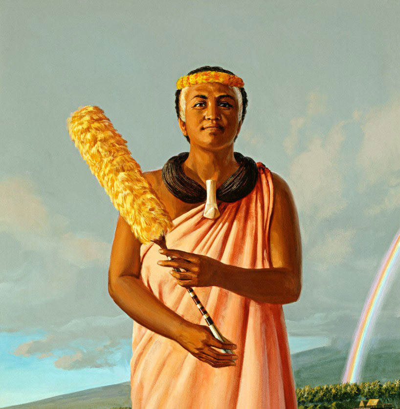 A New God - Kaumualii died in 1825 and Kaahumanu never remarried, instead dedicating herself to spreading Christianity, but this time through persuasion rather than force. In that same year, Kaahumanu herself was baptized and received a new name - Elizabeth.Under her leadership, Hawaii came to be ruled by the laws of the Christian faith. Kaahumanu incorporated Christian doctrine into the legal structure of Hawaii. In 1827, the commandments against murder, theft, and adultery became enforceable under Hawaiian law. Since Kaahumanu made the laws, she also presided over them, acting as judge when these commandments were violated. Yet, even as she welcomed the foreign religion, Kaahumanu protected Hawaii's sovereignty by warding off invaders intent on taking over the Hawaiian kingdom.On June 5, 1832 Hiram Bingham, an American Protestant missionary, read to Kaahumanu from the New Testament which had just been printed in Hawaiian. Queen Kaahumanu died only moments later.