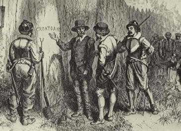 - Before progressing on to the location of their settlement, the ship stopped in Roanoke to pick up the men that were left there. What they found was an empty camp, some bones, and a tree with a single word carved into the bark: Croatoan. Once the ship's captain saw this eerie sight he refused to go any further and promptly sailed back to England. Eleanor along with 16 other women and 91 men were abandoned there in one of America's first ghost towns.