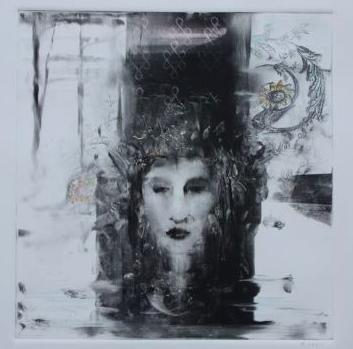 """Her Far Away Eyes, 15""""x16"""", monotype/framed"""