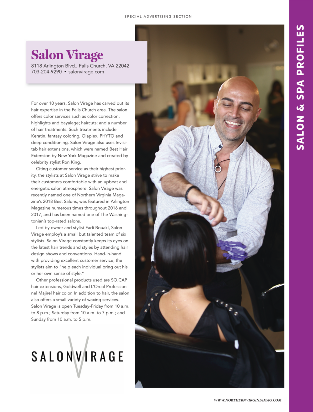 2018 Northern Virginia Magazines Best Salons Salon Virage