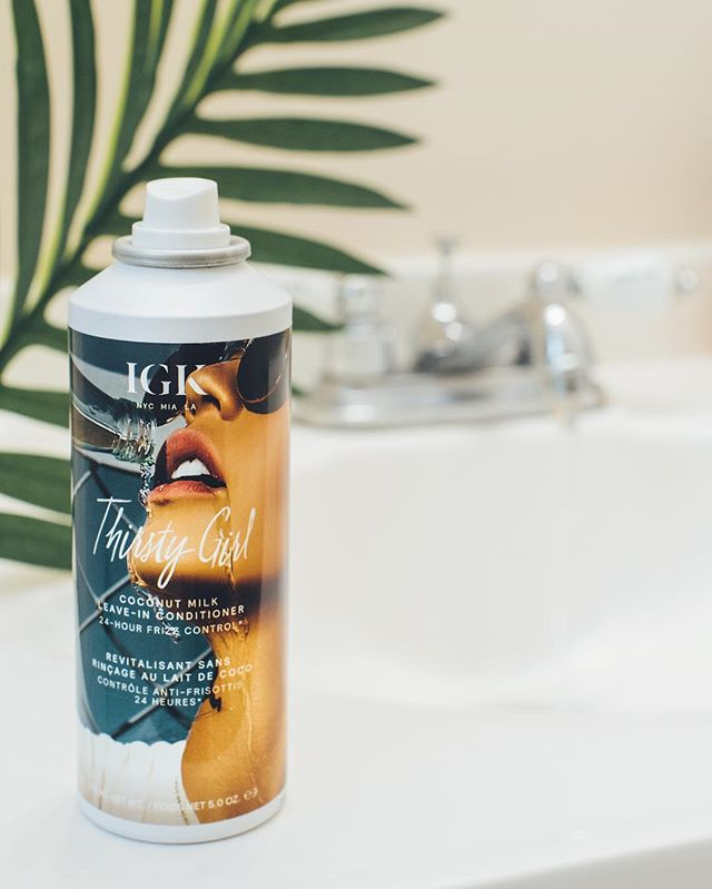 Hydrate your hair with IGK's Thirsty Girl Coconut Milk Leave In Conditioner. It's infused with coconut oil making it perfect for frizz control!
