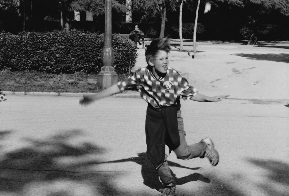 The author, age 9, after scoring the goal to win Real Madrid's 7th Champions League (Parque del Retiro, c. 1996).