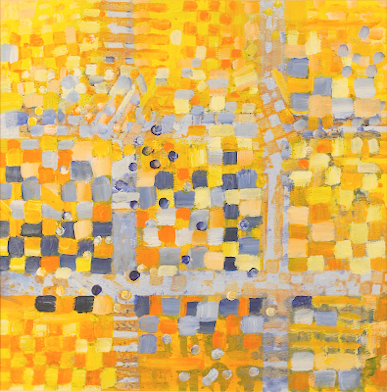 """BLUE AND YELLOW ... mixed media on paper 14""""x14"""""""