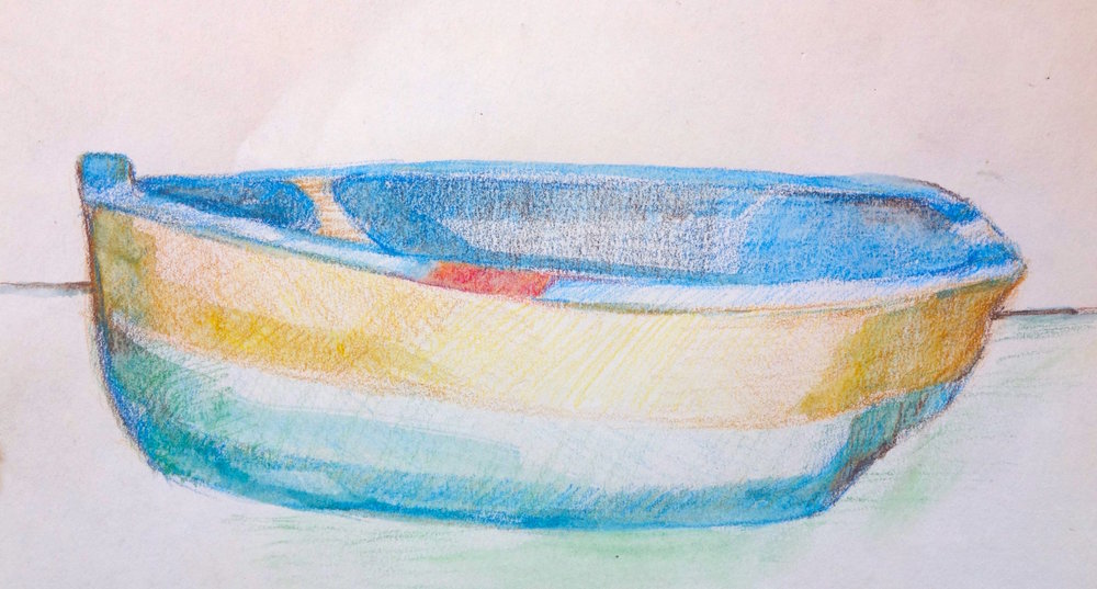 "LITTLE BLUE BOAT ... colored pencil on paper  5.5""x7.5"""