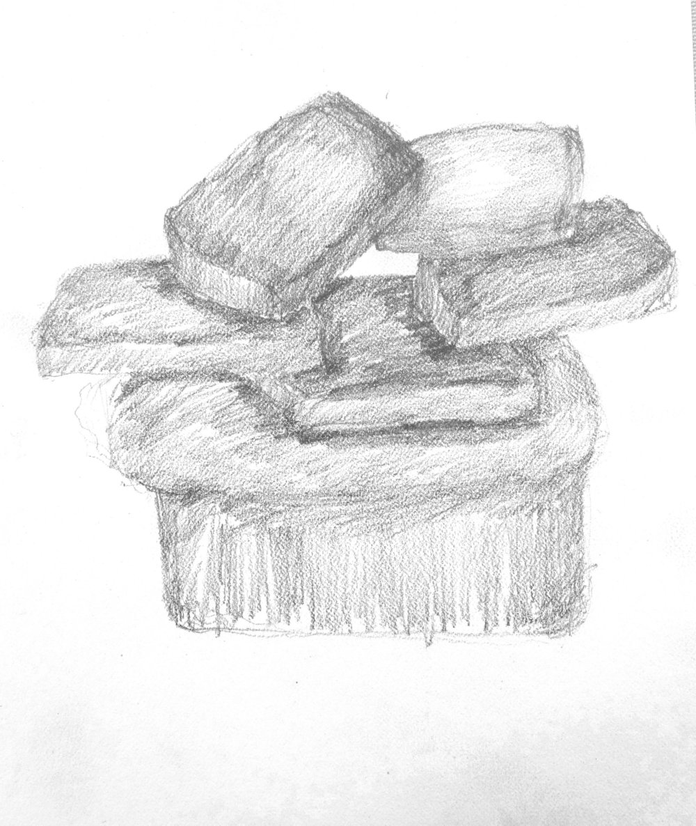 "NOT TOAST ... pencil on paper  7""x6"""