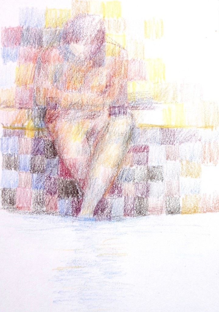 "WADING ... colored pencil on paper  8""x4.5"""