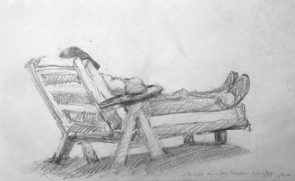 "SAG HARBOR ... pencil on paper  5""x8"""