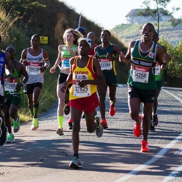 Men Running with her.