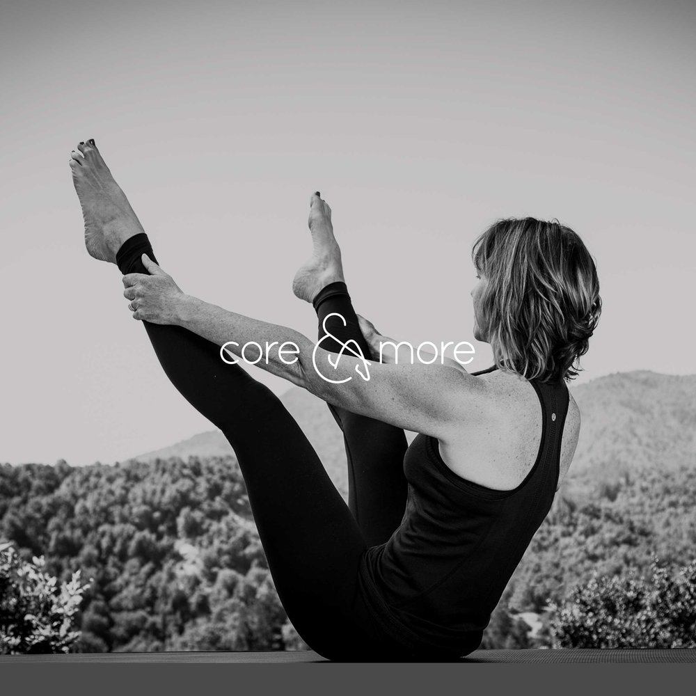 Pam Howard, Pilates instructor, in a classic open leg rocker pose for the Core and More creative brand.