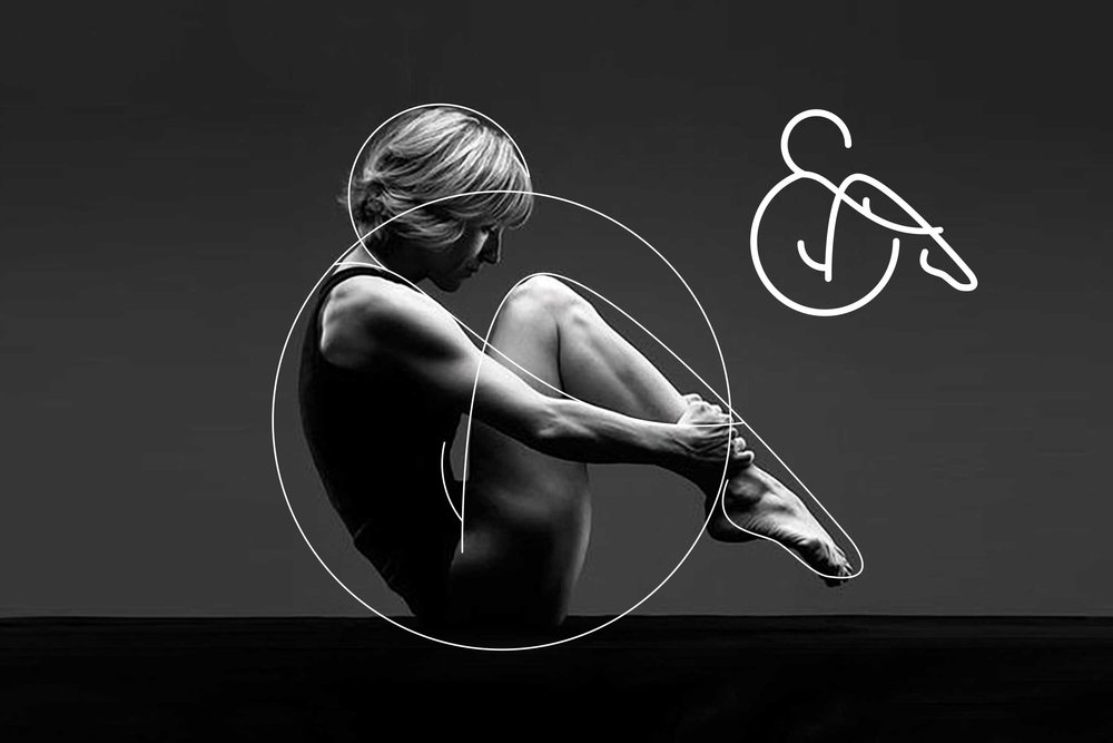 A graphic demonstrating how the logo was created and inspired from a classic Pilates pose.