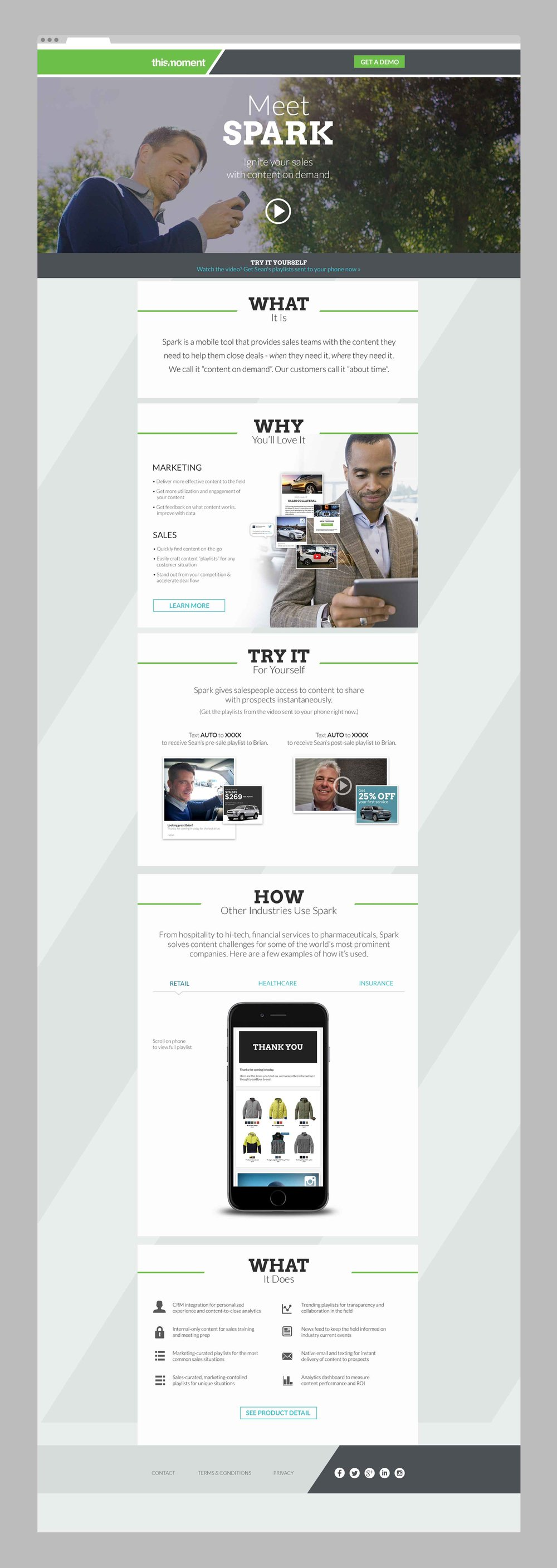 A microsite designed for the SPARK product launch.