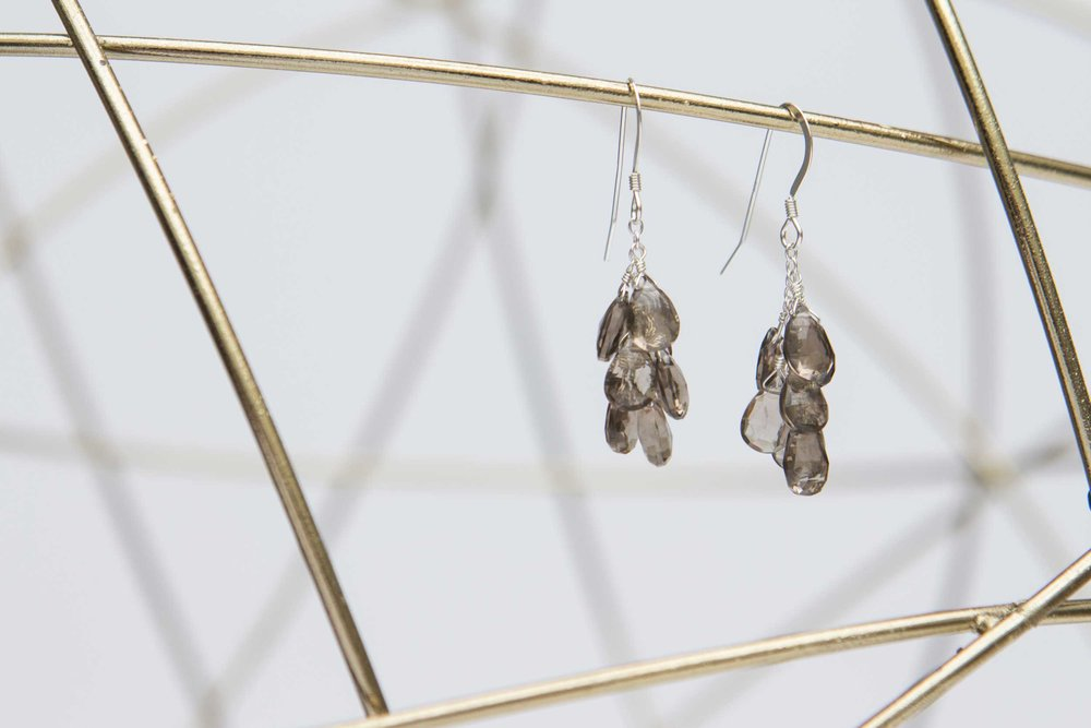 Brown cluster earrings dangling from a metal sphere shape.