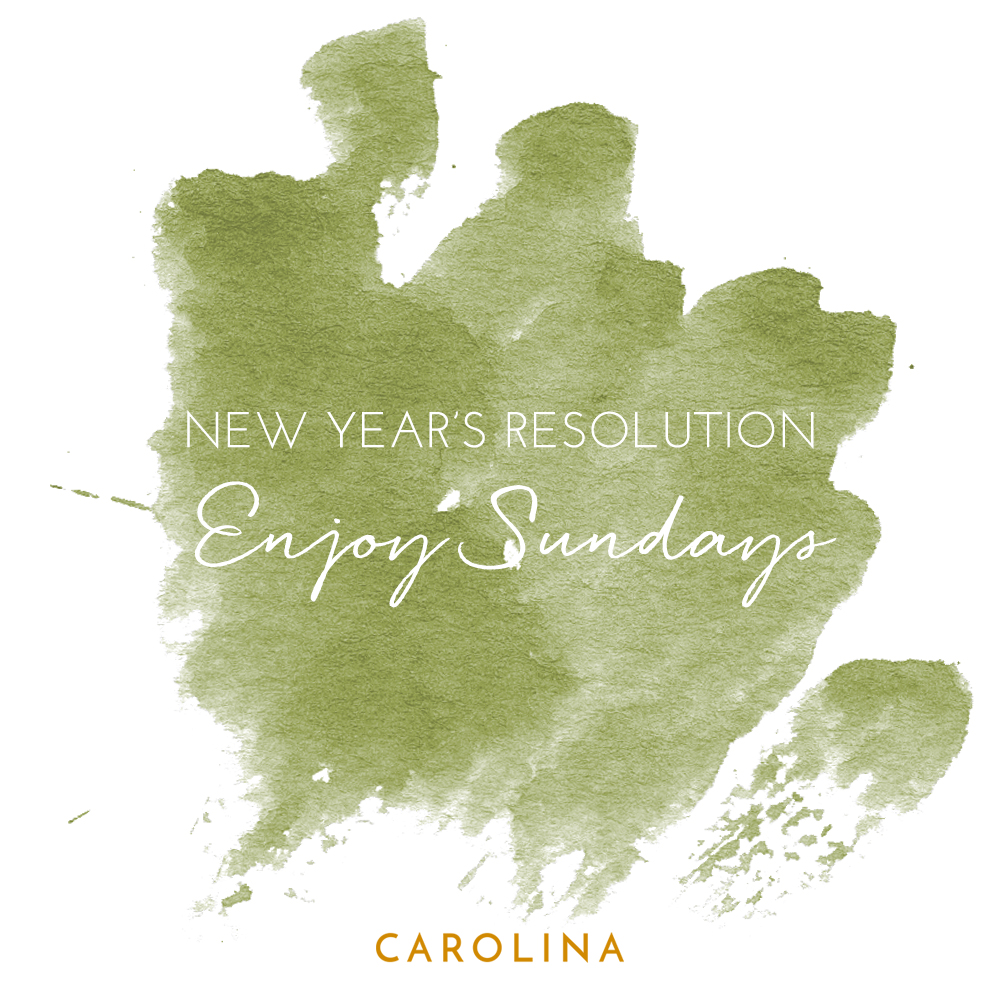 A Carolina Boutique New Year's resolution Instagram post with a green watercolor background.