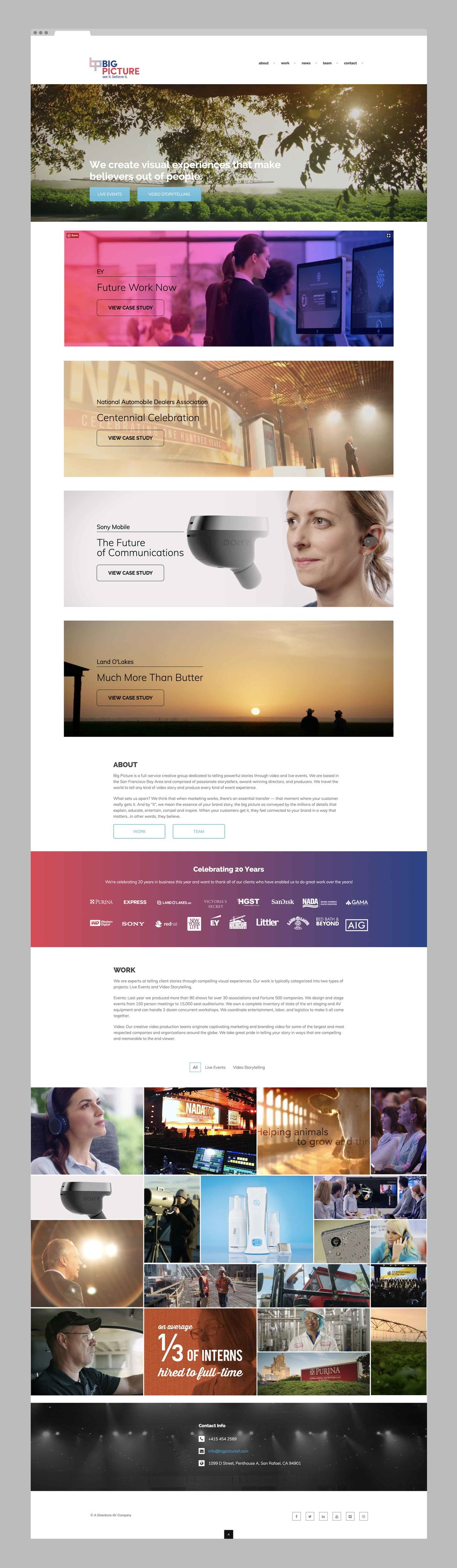 One page web design for the Big Picture brand who produces live events and does video story telling.