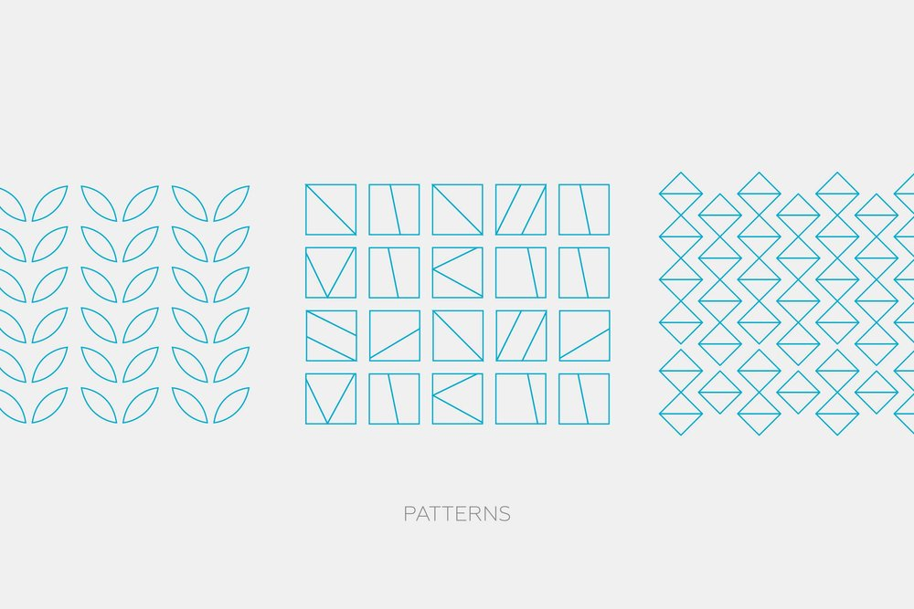 Patterns that are a graphic element to help differentiate the 2Modern brand.