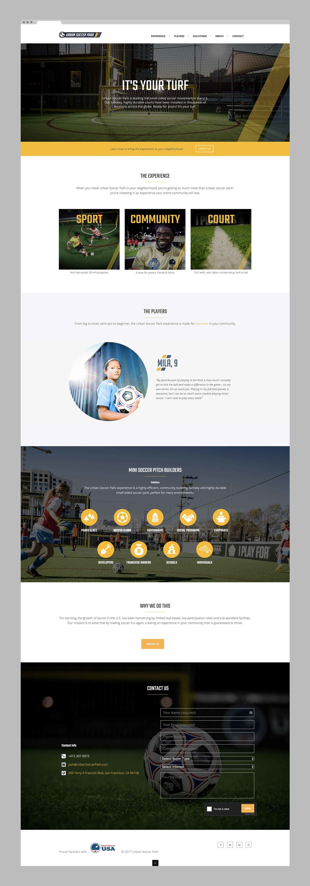 A website page to show the Urban Soccer Park look and feel of the brand.